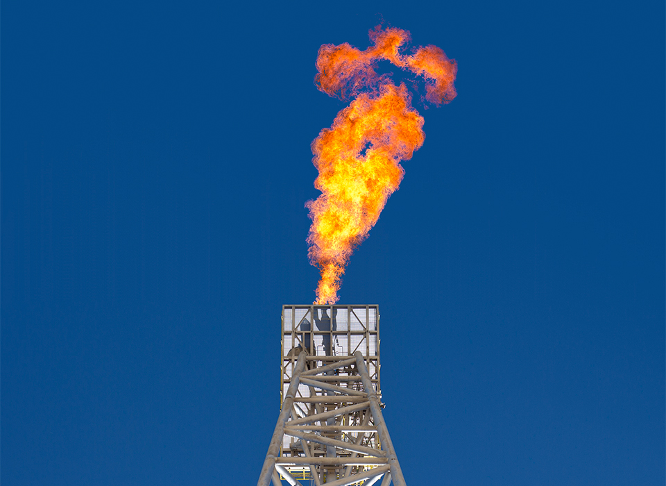 Flare tip of North Sea oil rig